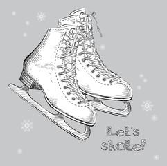 Winter holidays card with ice skates cartoon sketch. Hand draw vector illustration