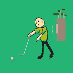 man playing golf illustration