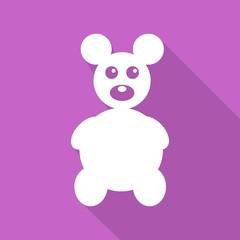 Icon Teddy Bear Toy on long shadow