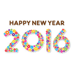 creative new year 2016 design by colorful gear concept