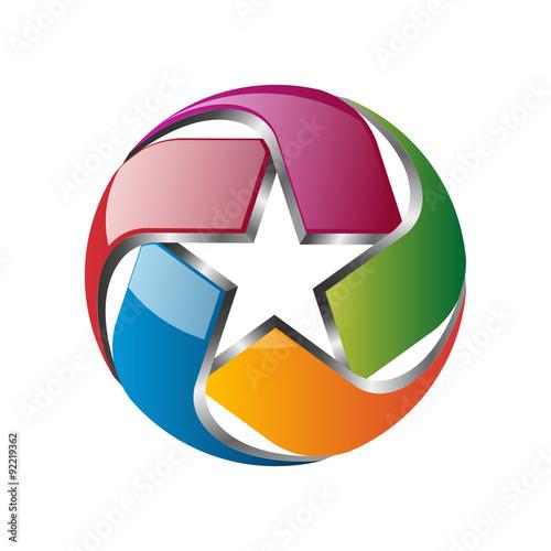 3D Colorful Star Ball Vector Logo Icon