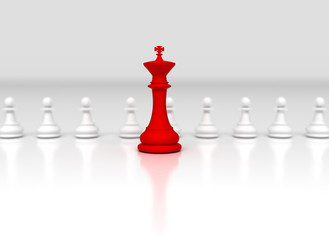 Leadership concept. Red chess king in front