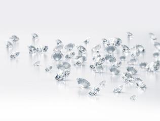 Diamonds. Large group of clear diamonds
