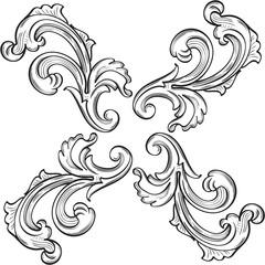 Baroque ornate rosette fine element
