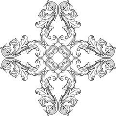 Baroque rosette ornate fine element