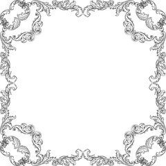 Baroque square art pattern