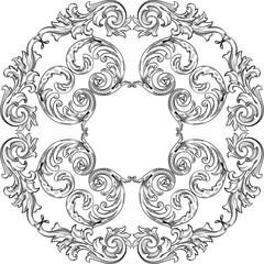 Vintage baroque art rosette nice pattern
