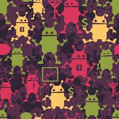 Cute robots seamless pattern.