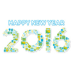creative happy new year 2016 greeting design by education icon concept