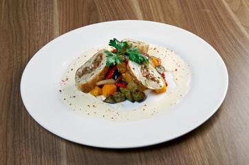 Salad with eggplant, chicken