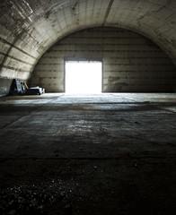 Abandoned military hangar