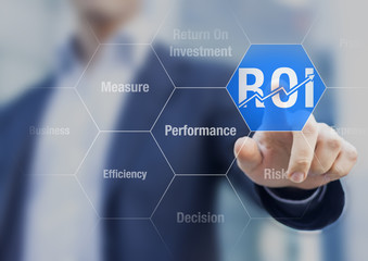 Businessman using ROI Return on Investment indicator for improvement