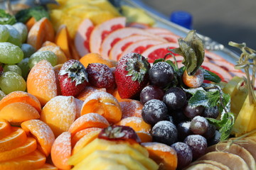 set of assorted fruits on a platter wedding feast
