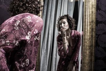 Foto op Aluminium Imagination Stunning Female Wearing Floral Silk Robe