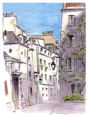 Painting of street of european city Paris