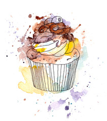 Cupcake cake with chocolate and blueberry berry. Watercolor