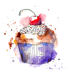 Cupcake cake with cherry. Watercolor
