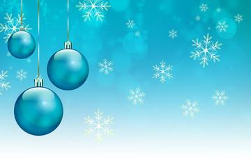 Sfondo natalizio con neve e palle di natale