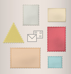 Set of postage stamps. Vector illustration