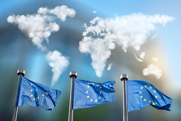 Wall Mural - Flags of European Union with clouds map