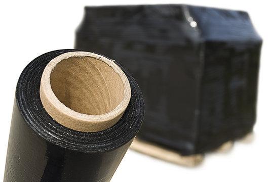 Black stretch fim and cardboard box palette