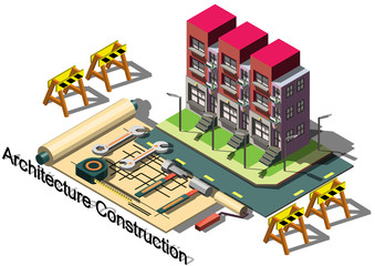 illustration of info graphic architecture construction concept in isometric graphic