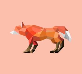 Printed roller blinds Ass animals . geometric orange polygon fox on orange pastel background