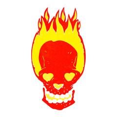 cartoon flaming skull with love heart eyes