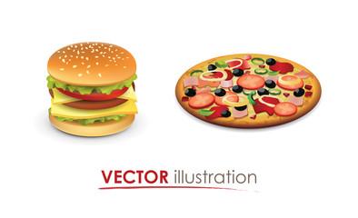 Big hamburger and Italian Pizza