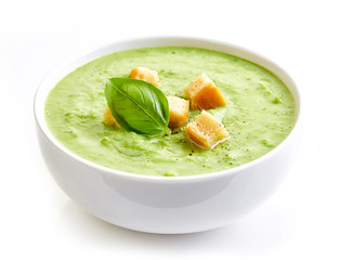 bowl of broccoli and green peas cream soup