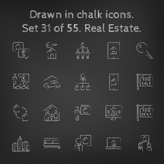 Real estate icon set drawn in chalk.