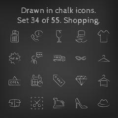 Shopping icon set drawn in chalk.