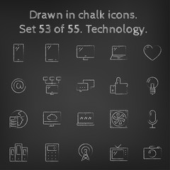 Technology icon set drawn in chalk.