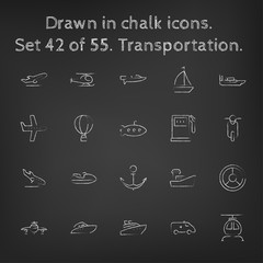 Transpotration icon set drawn in chalk.
