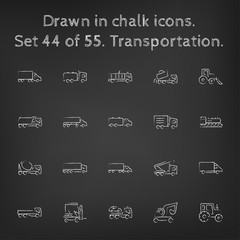Transpotration icon set drawn in chalk.