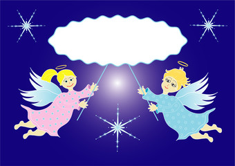 Two little angels. Vector Christmas concept with a frame for your text