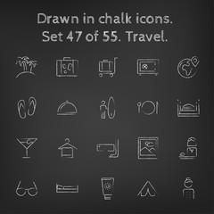 Travel icon set drawn in chalk.