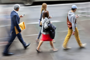 group of business people in the street