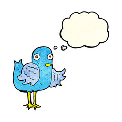 cartoon bird waving wing with thought bubble