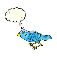cartoon garden bird with thought bubble