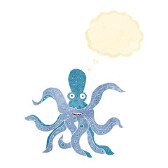cartoon giant octopus with thought bubble