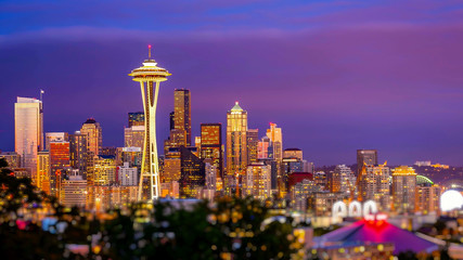 Seattle Skyline at Sunset Wall mural