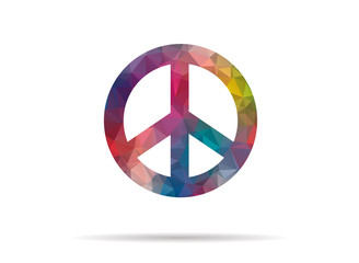 low poly icon colorful peace symbol