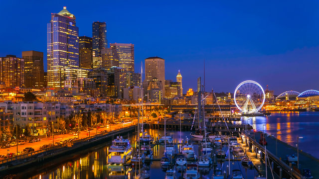 Seattle Waterfront After Sunset