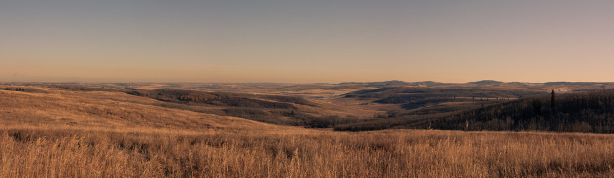 A panoramic landscape of foothills in the prairies, Ann & Sandy Cross Conservation, Alberta, Canada.