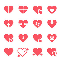 Vector hearts icons set on White Background. Vector Illustration