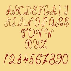 vector hand drawn calligraphic Alphabet eps 10