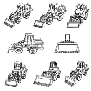 Bulldozer. Eight 3D projection vector.