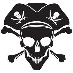 Pirate symbol Jolly Roger skull-vector