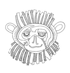 the monkey hand drawing outline cartoon isolated on the white background